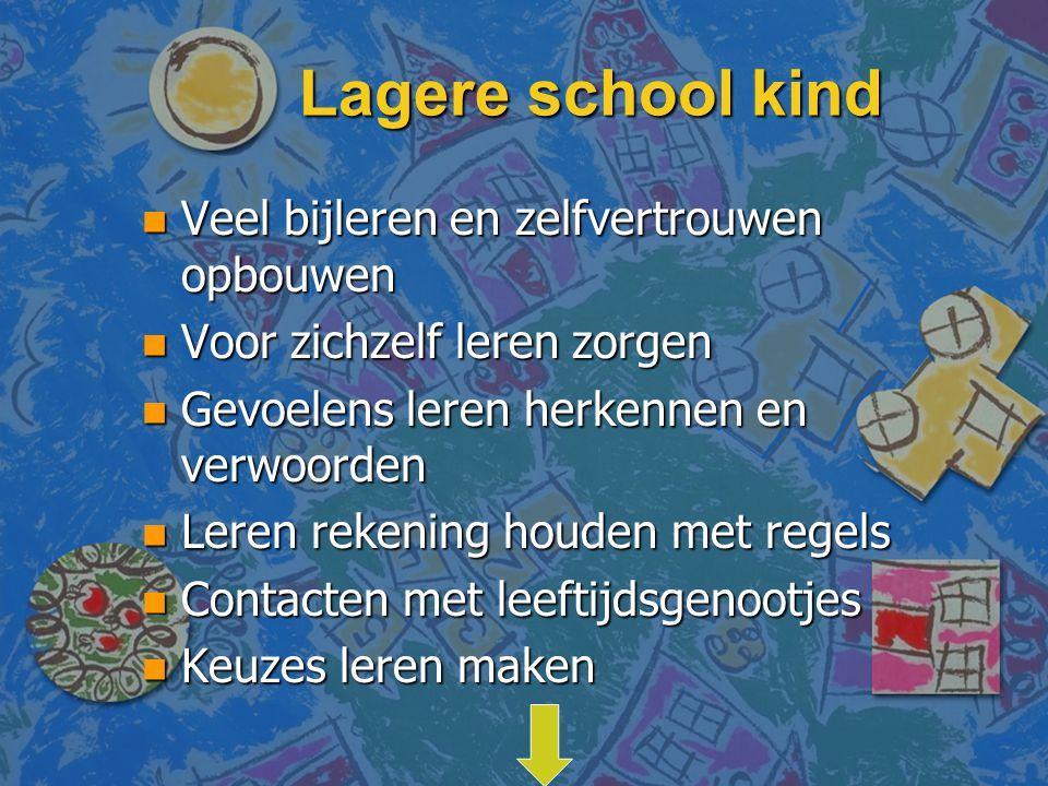 Lagere school kind n Veel bijleren en zelfvertrouwen opbouwen n Voor zichzelf leren zorgen n Gevoelens leren herkennen en verwoorden n Leren rekening