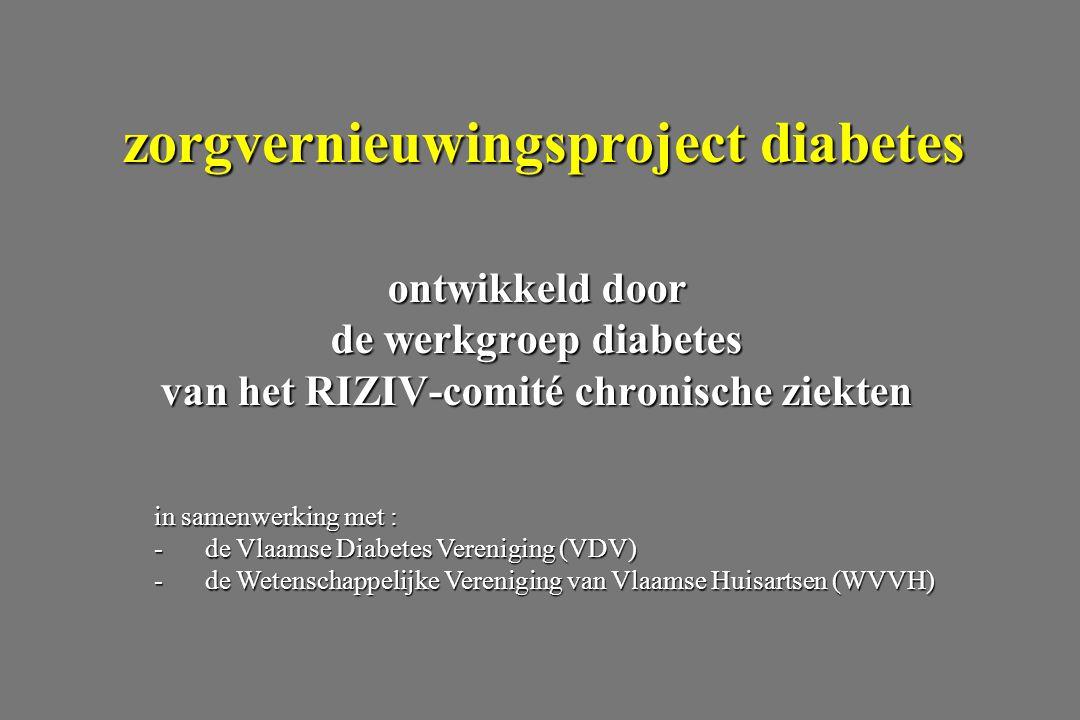 ontwikkeld door de werkgroep diabetes van het RIZIV-comité chronische ziekten zorgvernieuwingsproject diabetes in samenwerking met : -de Vlaamse Diabetes Vereniging (VDV) -de Wetenschappelijke Vereniging van Vlaamse Huisartsen (WVVH)