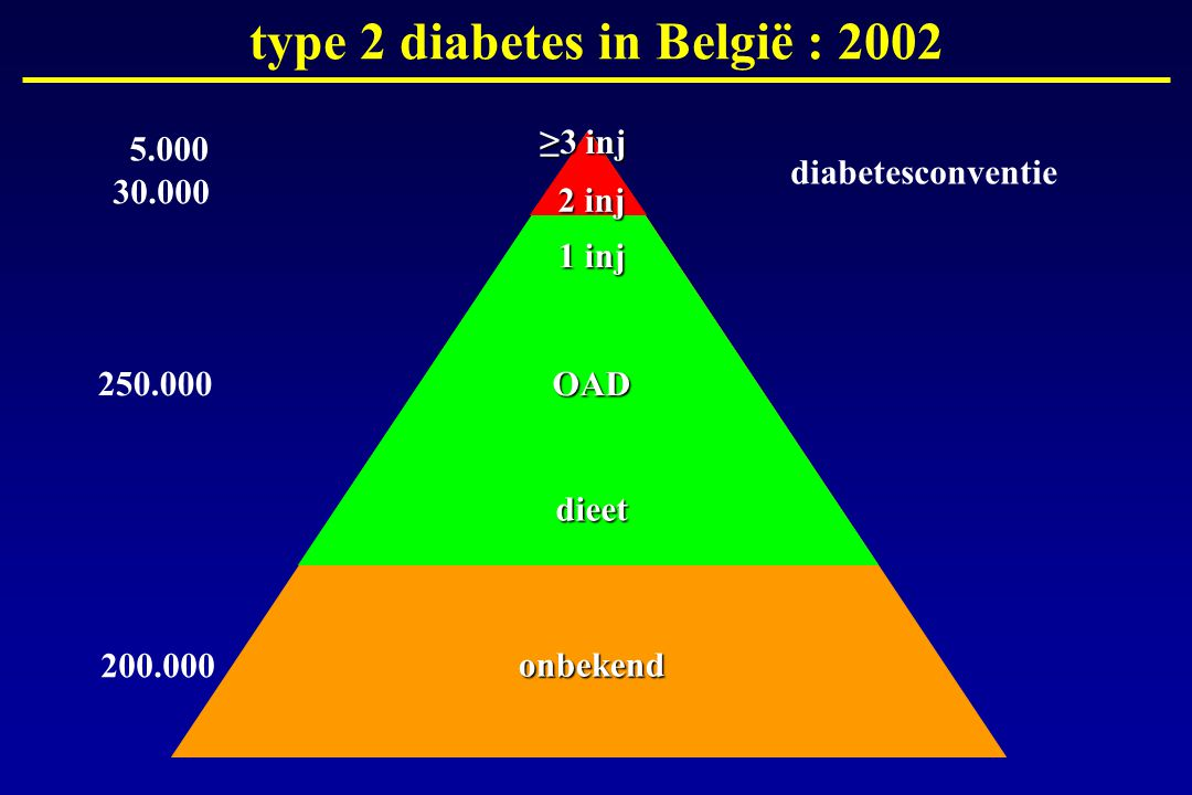 1 inj OAD dieet 250.000 200.000 30.000 5.000 type 2 diabetes in België : 2002 2 inj ≥3 inj onbekend diabetesconventie