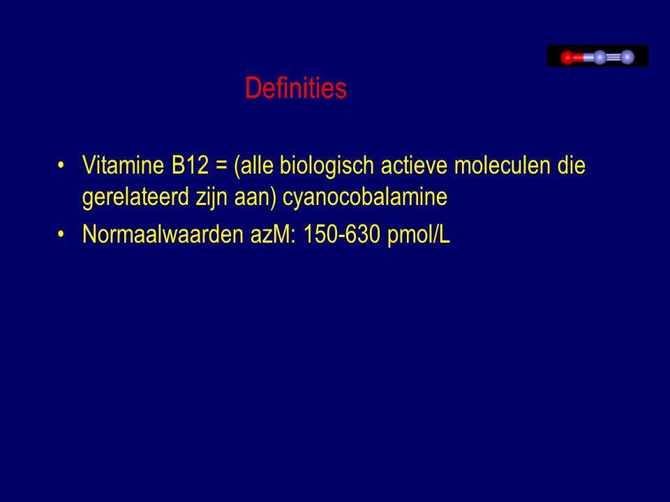 Definities Vitamine B12 = (alle biologisch actieve moleculen die gerelateerd zijn aan) cyanocobalamine Normaalwaarden azM: 150-630 pmol/L
