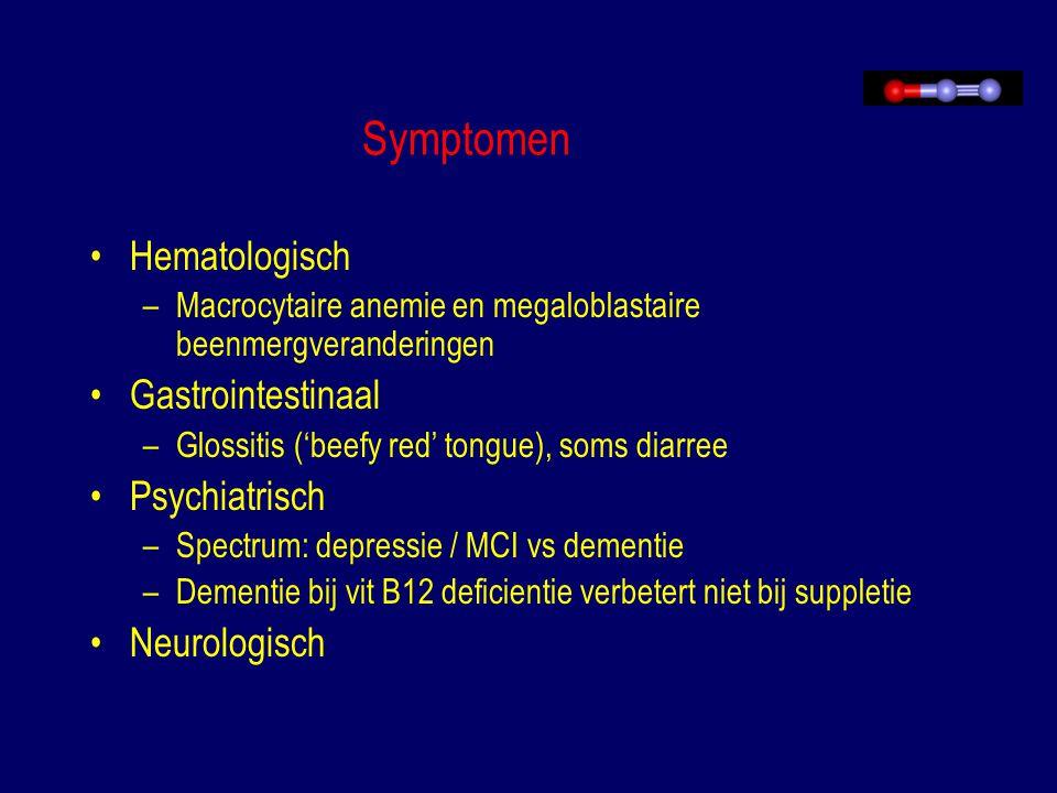 Symptomen Hematologisch –Macrocytaire anemie en megaloblastaire beenmergveranderingen Gastrointestinaal –Glossitis ('beefy red' tongue), soms diarree