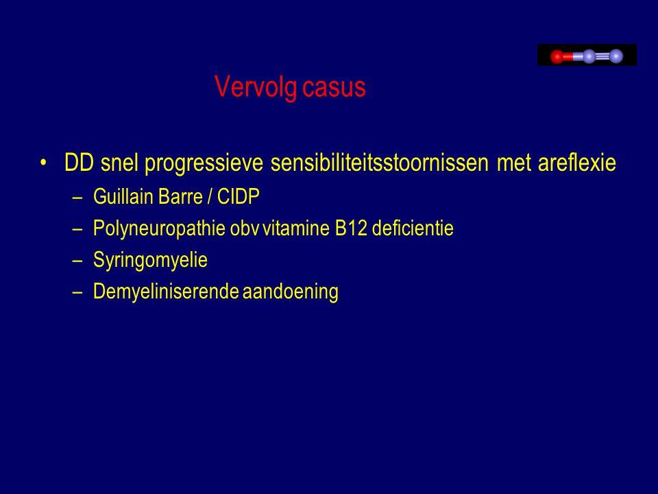Vervolg casus Aanvullend onderzoek: –MRI-WK: kleine syrinx Th7-9 –SSEP: geen centrale sensibele geleidingsstoornis –EMG: –LP: Leuco's 1, ery's 2816, geen bacterien Normaal glucose en totaal eiwit Lues – Geen maligne cellen