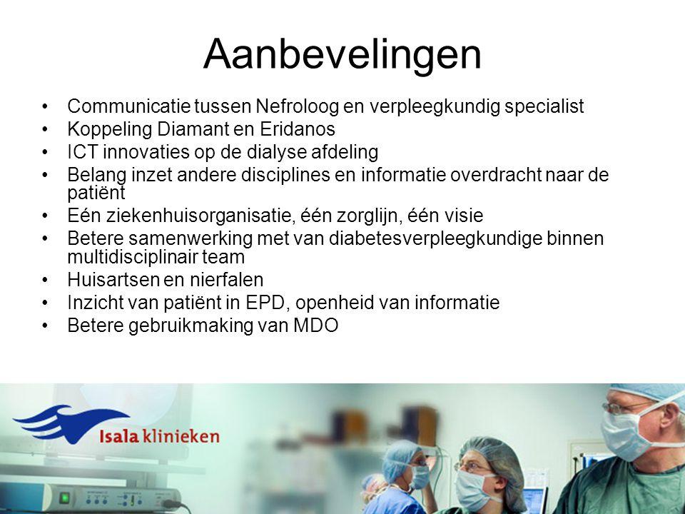 Aanbevelingen Communicatie tussen Nefroloog en verpleegkundig specialist Koppeling Diamant en Eridanos ICT innovaties op de dialyse afdeling Belang in