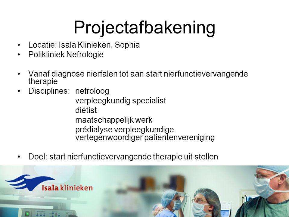 Projectafbakening Locatie: Isala Klinieken, Sophia Polikliniek Nefrologie Vanaf diagnose nierfalen tot aan start nierfunctievervangende therapie Disci