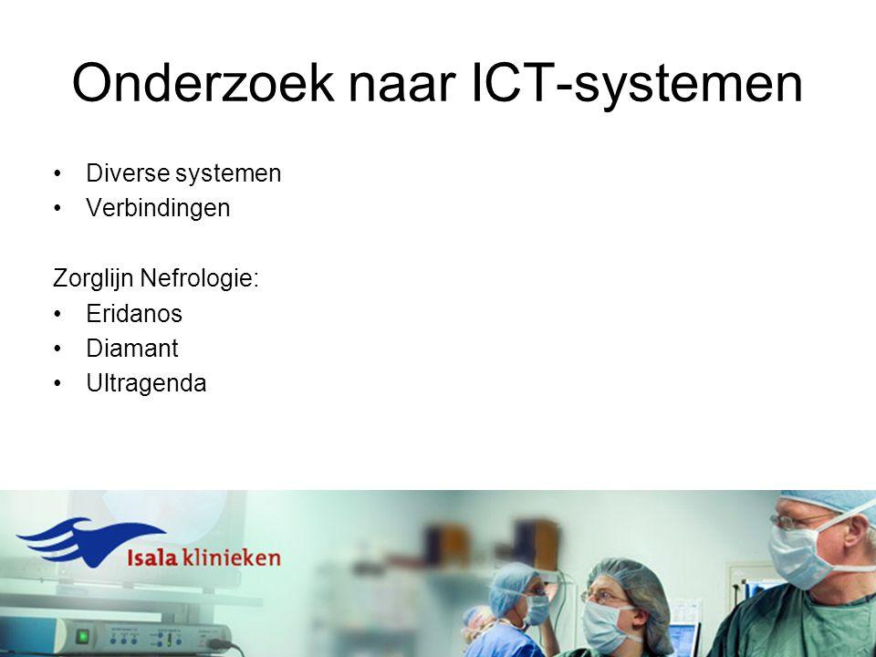 Onderzoek naar ICT-systemen Diverse systemen Verbindingen Zorglijn Nefrologie: Eridanos Diamant Ultragenda