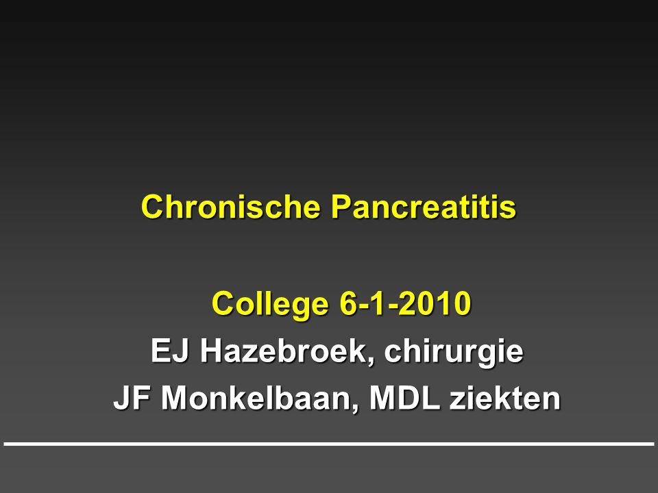 Chronische pancreatitis; hoe ontstaat het  1) alcoholisme: 85%  2) idiopathisch: 10%  3) erfelijkheid: 3%  4) incidentele oorzaken: <2% (hyperparathyroïdie, hyperlipidemie), medicamenteus) 150 gr alcohol/dag gedurende 10 jaar