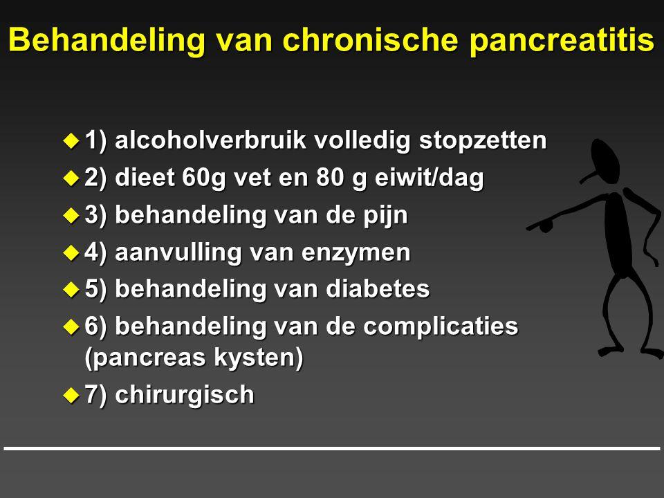 Behandeling van chronische pancreatitis  1) alcoholverbruik volledig stopzetten  2) dieet 60g vet en 80 g eiwit/dag  3) behandeling van de pijn  4