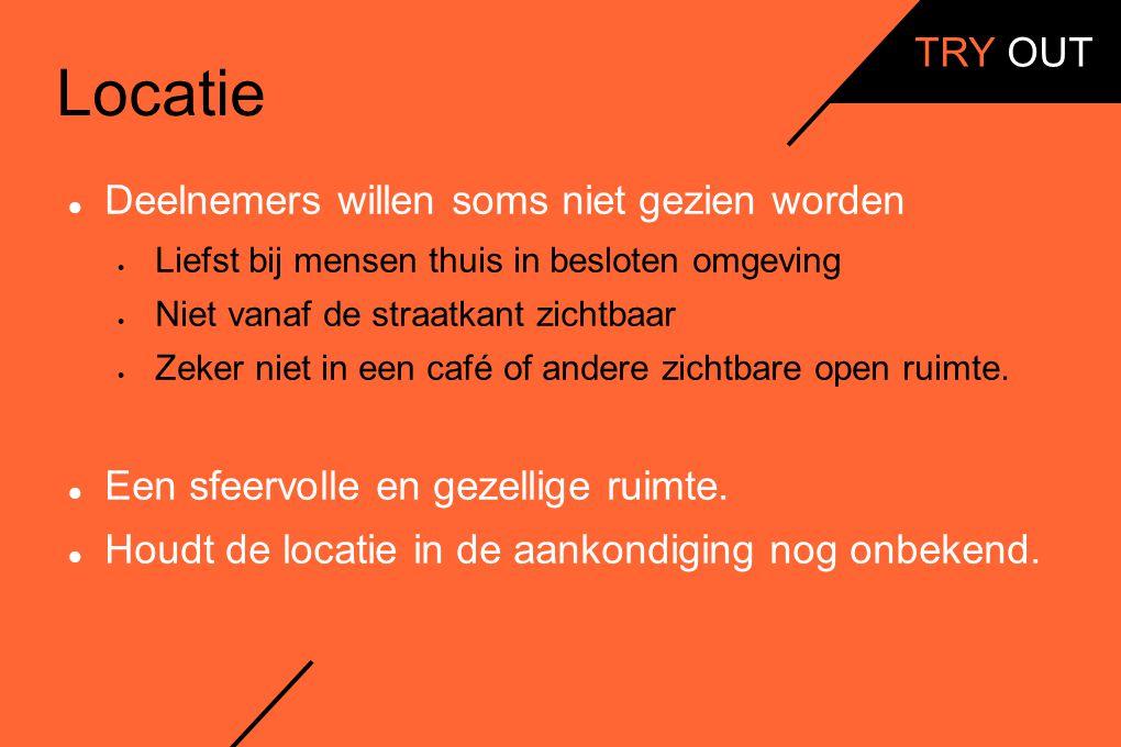 Locatie Deelnemers willen soms niet gezien worden  Liefst bij mensen thuis in besloten omgeving  Niet vanaf de straatkant zichtbaar  Zeker niet in een café of andere zichtbare open ruimte.