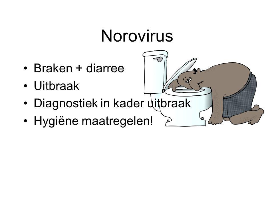 Norovirus Braken + diarree Uitbraak Diagnostiek in kader uitbraak Hygiëne maatregelen!