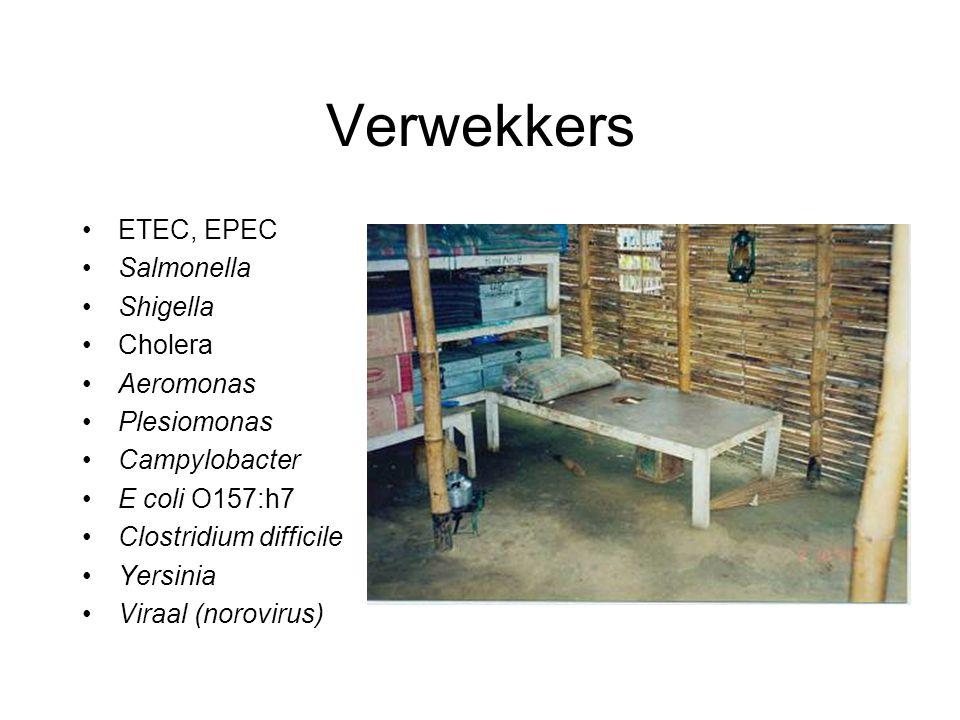 Verwekkers ETEC, EPEC Salmonella Shigella Cholera Aeromonas Plesiomonas Campylobacter E coli O157:h7 Clostridium difficile Yersinia Viraal (norovirus)