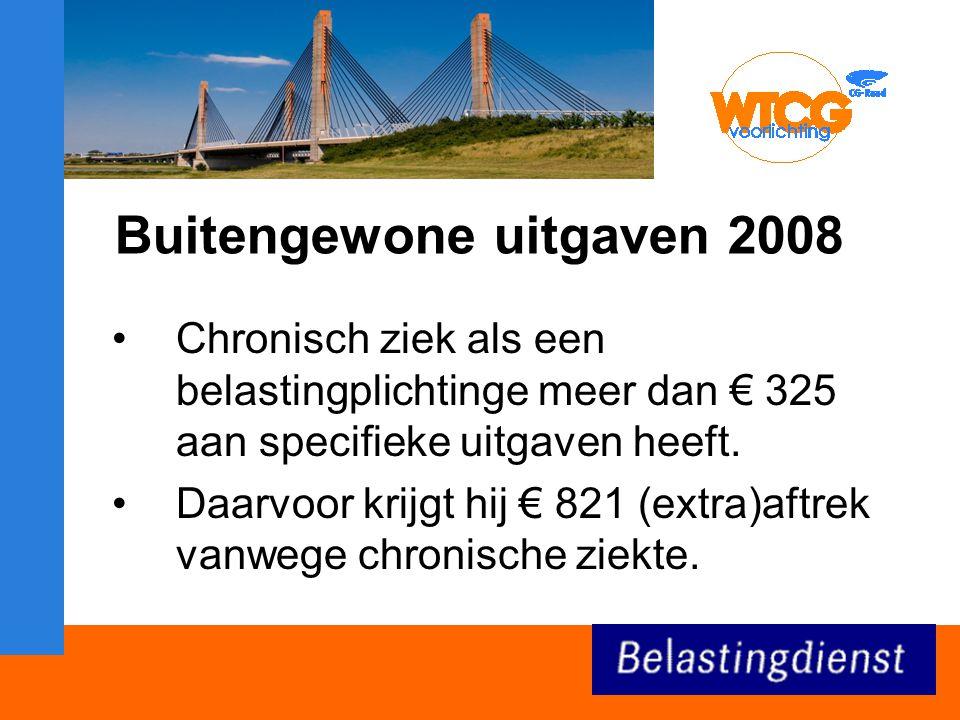 Buitengewone uitgaven 2008 Chronisch ziek als een belastingplichtinge meer dan € 325 aan specifieke uitgaven heeft.