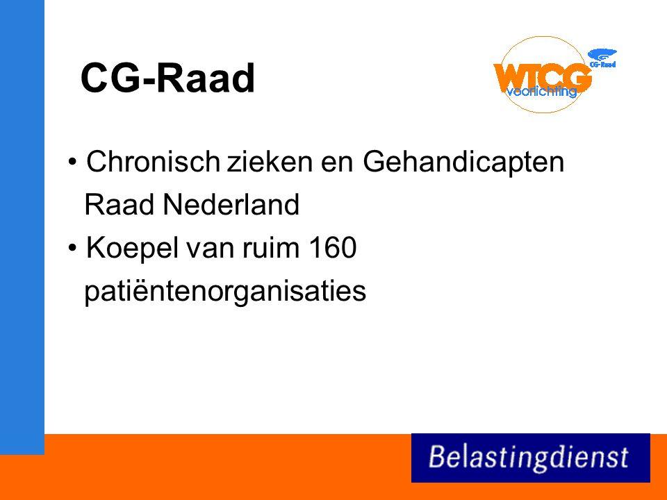 CG-Raad Chronisch zieken en Gehandicapten Raad Nederland Koepel van ruim 160 patiëntenorganisaties