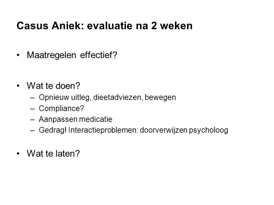 Casus Aniek: evaluatie na 2 weken Maatregelen effectief.