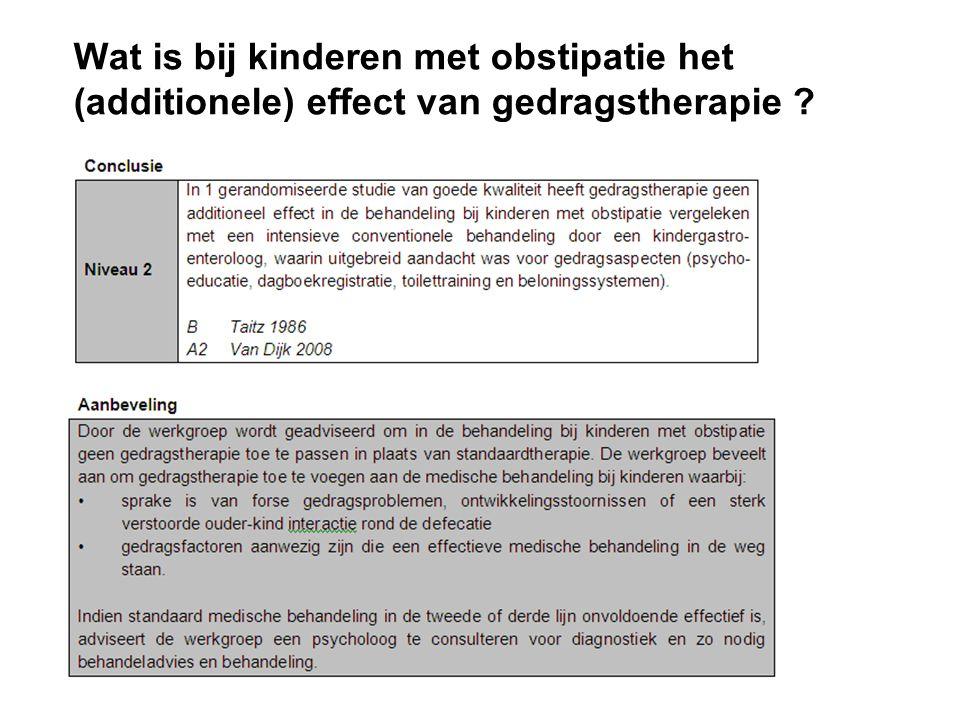 Wat is bij kinderen met obstipatie het (additionele) effect van gedragstherapie ?
