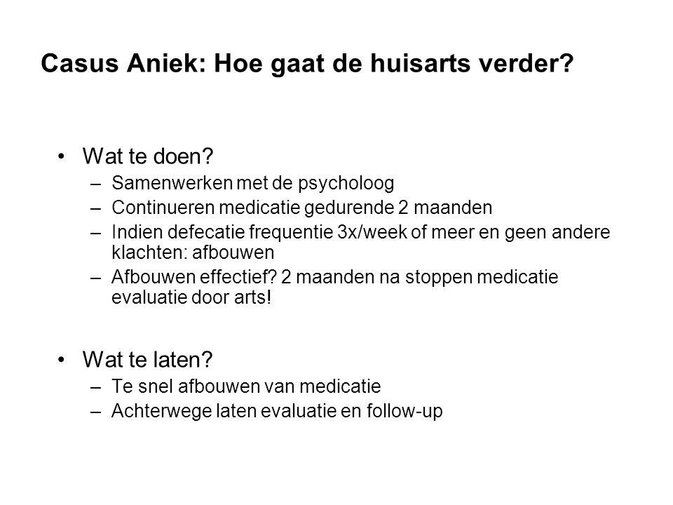 Casus Aniek: Hoe gaat de huisarts verder.Wat te doen.