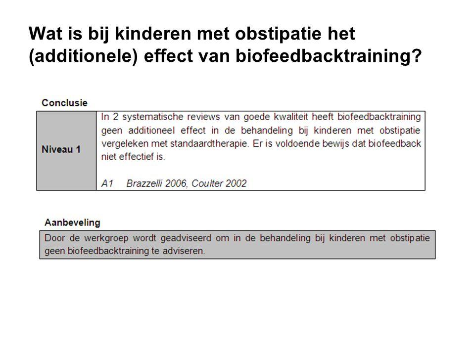 Wat is bij kinderen met obstipatie het (additionele) effect van biofeedbacktraining?