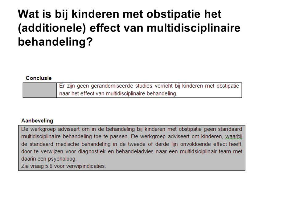 Wat is bij kinderen met obstipatie het (additionele) effect van multidisciplinaire behandeling?
