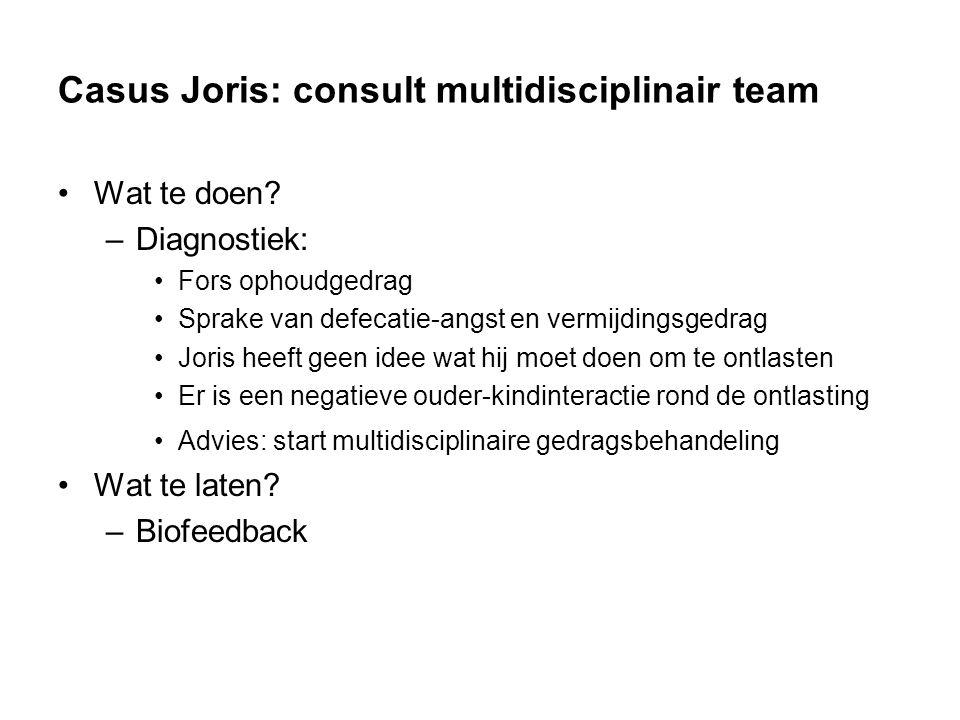 Casus Joris: consult multidisciplinair team Wat te doen.