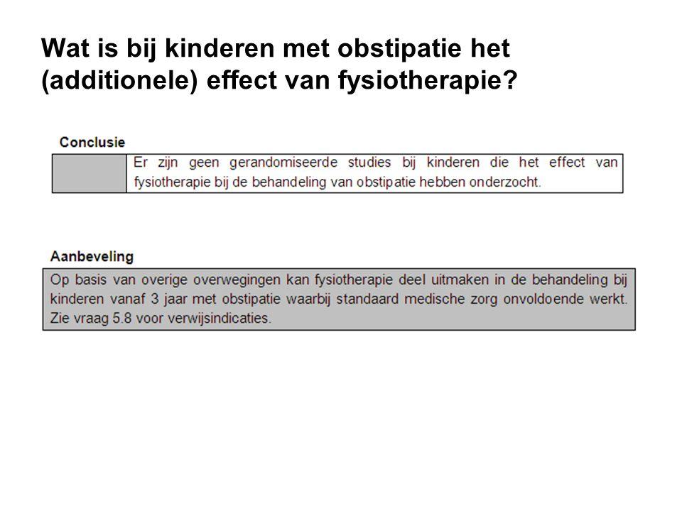 Wat is bij kinderen met obstipatie het (additionele) effect van fysiotherapie?