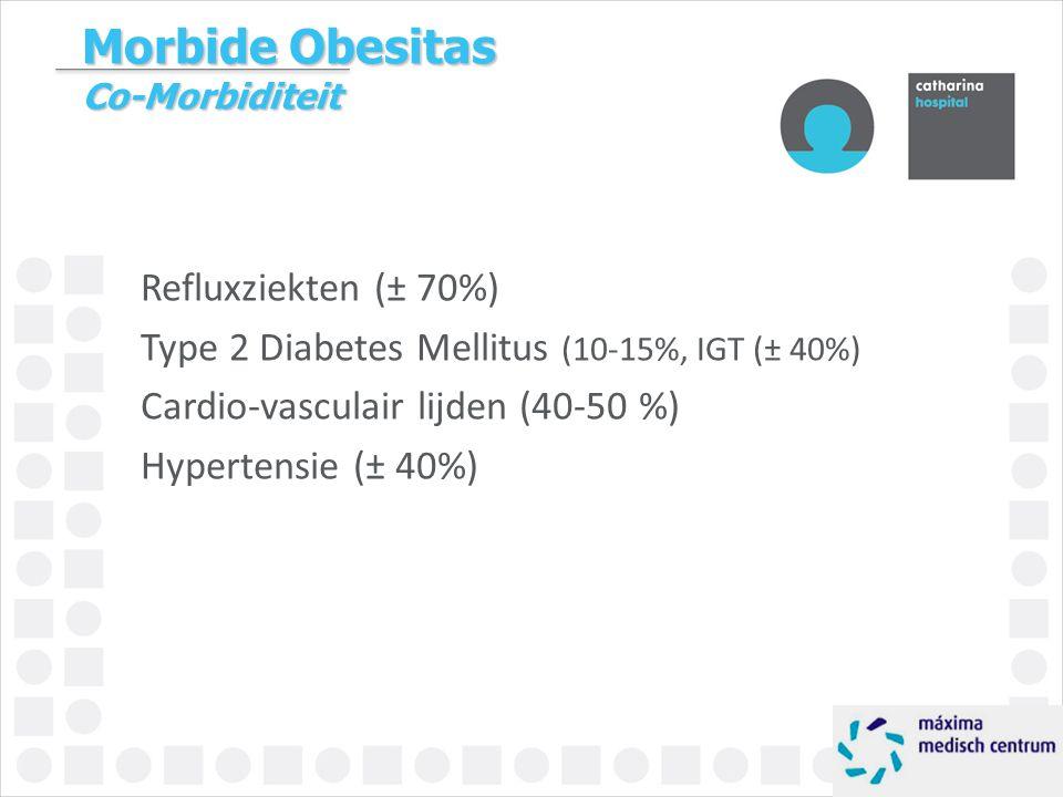 Morbide Obesitas Co-Morbiditeit Refluxziekten (± 70%) Type 2 Diabetes Mellitus (10-15%, IGT (± 40%) Cardio-vasculair lijden (40-50 %) Hypertensie (± 4