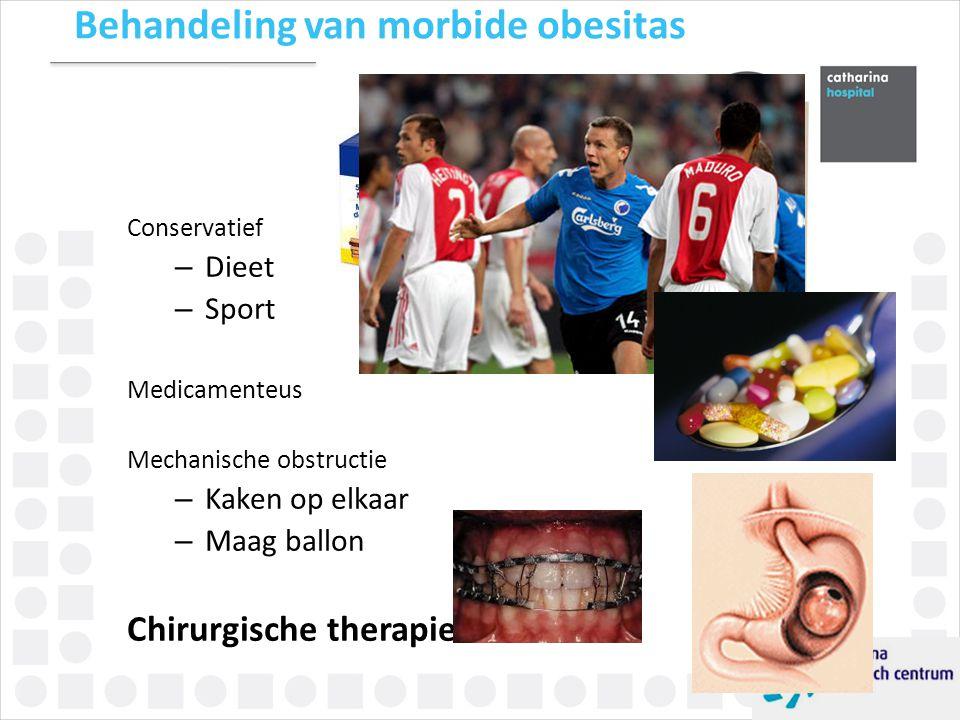 Behandeling van morbide obesitas Conservatief – Dieet – Sport Medicamenteus Mechanische obstructie – Kaken op elkaar – Maag ballon Chirurgische therap