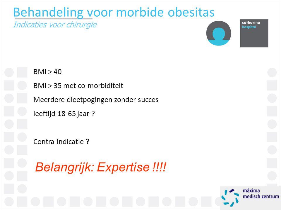 Behandeling voor morbide obesitas Indicaties voor chirurgie BMI > 40 BMI > 35 met co-morbiditeit Meerdere dieetpogingen zonder succes leeftijd 18-65 j