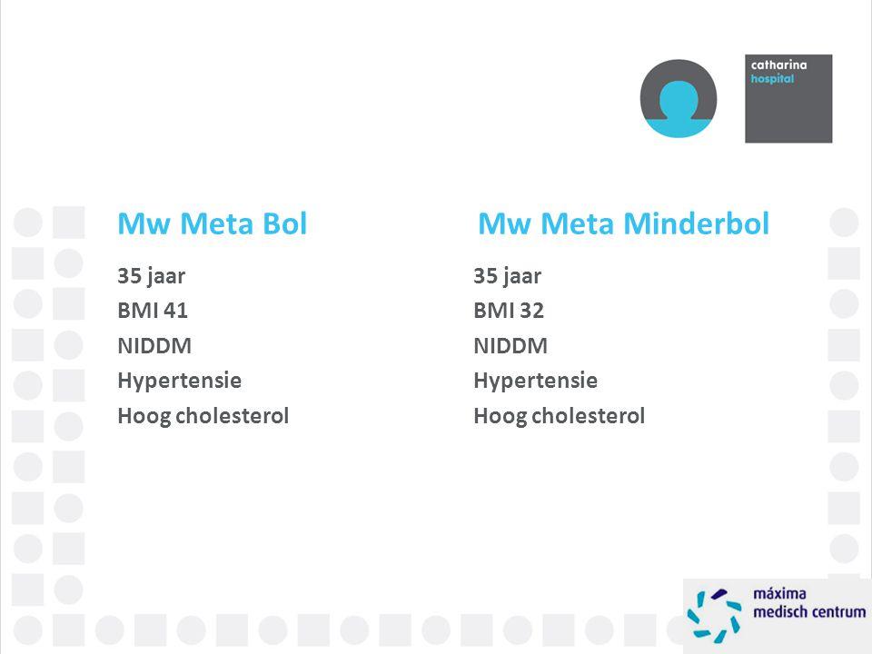 Mw Meta Bol Mw Meta Minderbol 35 jaar BMI 41 NIDDM Hypertensie Hoog cholesterol 35 jaar BMI 32 NIDDM Hypertensie Hoog cholesterol