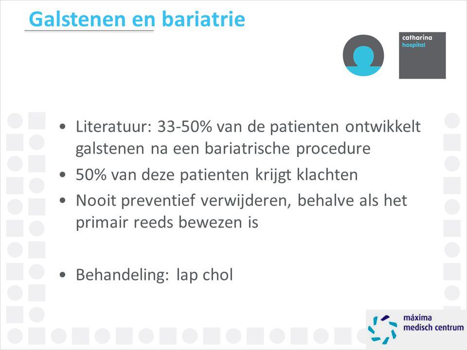 Galstenen en bariatrie Literatuur: 33-50% van de patienten ontwikkelt galstenen na een bariatrische procedure 50% van deze patienten krijgt klachten N