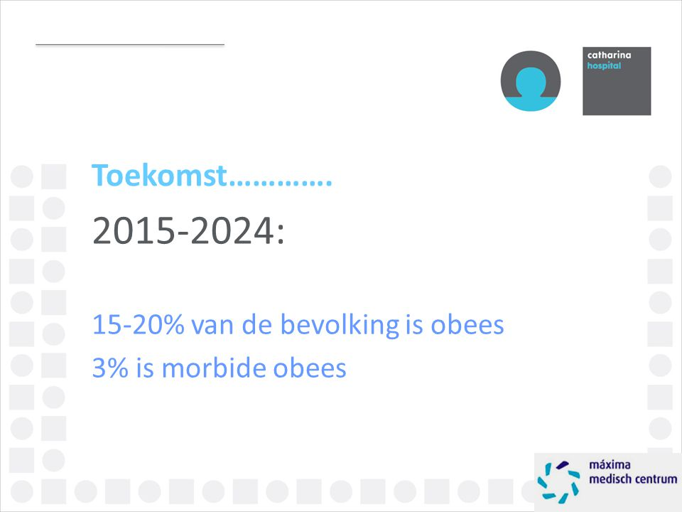 Toekomst…………. 2015-2024: 15-20% van de bevolking is obees 3% is morbide obees