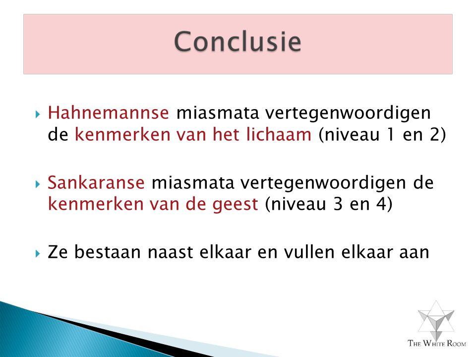  Hahnemannse miasmata vertegenwoordigen de kenmerken van het lichaam (niveau 1 en 2)  Sankaranse miasmata vertegenwoordigen de kenmerken van de geest (niveau 3 en 4)  Ze bestaan naast elkaar en vullen elkaar aan