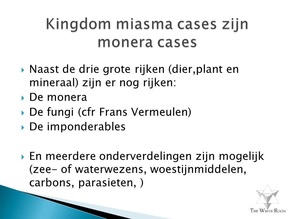  Naast de drie grote rijken (dier,plant en mineraal) zijn er nog rijken:  De monera  De fungi (cfr Frans Vermeulen)  De imponderables  En meerdere onderverdelingen zijn mogelijk (zee- of waterwezens, woestijnmiddelen, carbons, parasieten, )
