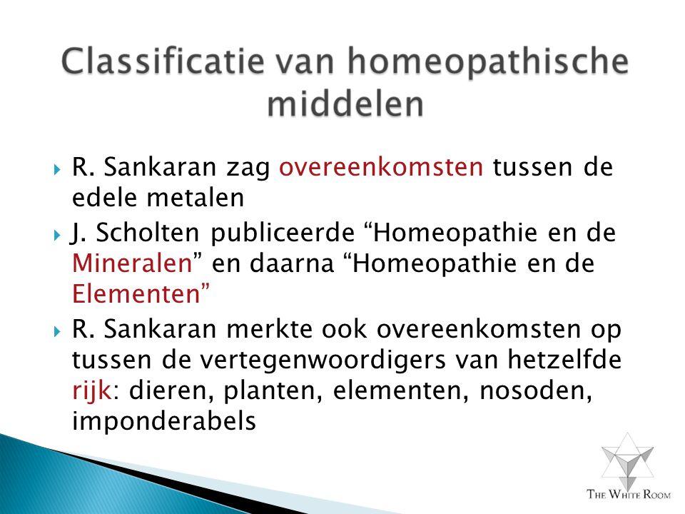 """ R. Sankaran zag overeenkomsten tussen de edele metalen  J. Scholten publiceerde """"Homeopathie en de Mineralen"""" en daarna """"Homeopathie en de Elemente"""
