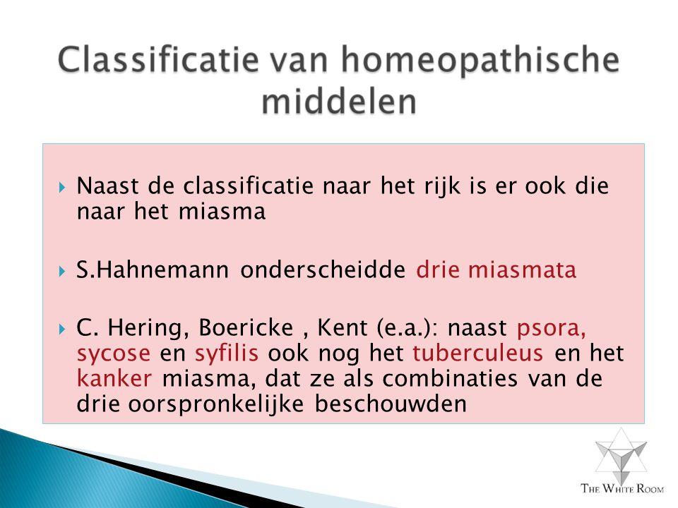  Naast de classificatie naar het rijk is er ook die naar het miasma  S.Hahnemann onderscheidde drie miasmata  C. Hering, Boericke, Kent (e.a.): naa