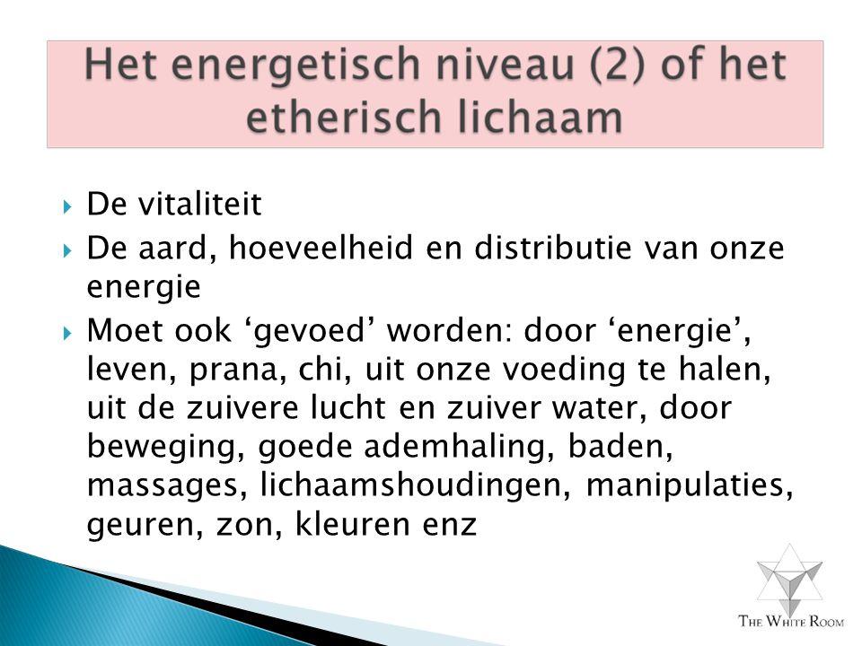  De vitaliteit  De aard, hoeveelheid en distributie van onze energie  Moet ook 'gevoed' worden: door 'energie', leven, prana, chi, uit onze voeding