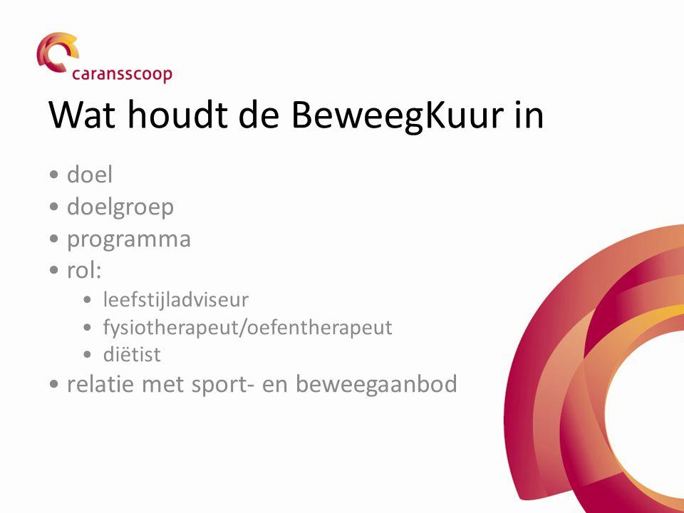 Wat houdt de BeweegKuur in doel doelgroep programma rol: leefstijladviseur fysiotherapeut/oefentherapeut diëtist relatie met sport- en beweegaanbod