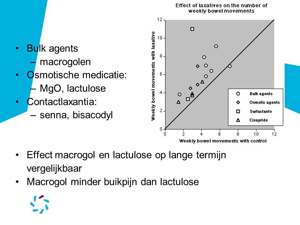 Bulk agents –macrogolen Osmotische medicatie: –MgO, lactulose Contactlaxantia: –senna, bisacodyl Effect macrogol en lactulose op lange termijn vergelijkbaar Macrogol minder buikpijn dan lactulose