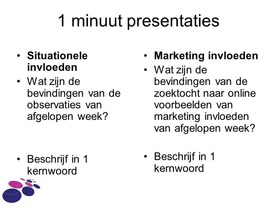 1 minuut presentaties Situationele invloeden Wat zijn de bevindingen van de observaties van afgelopen week.