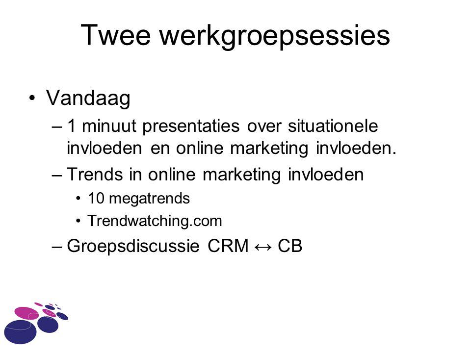 Twee werkgroepsessies Vandaag –1 minuut presentaties over situationele invloeden en online marketing invloeden.