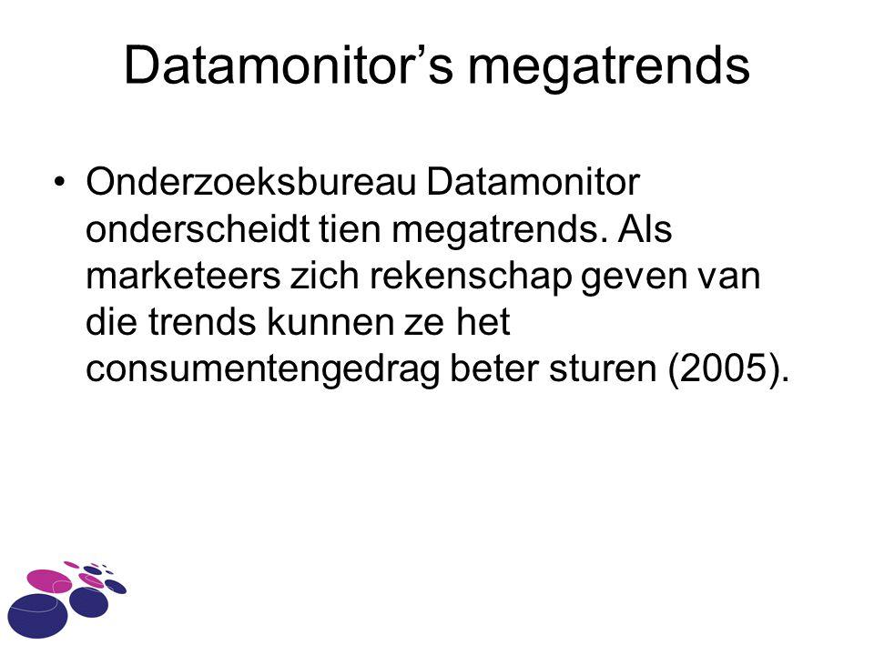 Datamonitor's megatrends Onderzoeksbureau Datamonitor onderscheidt tien megatrends.