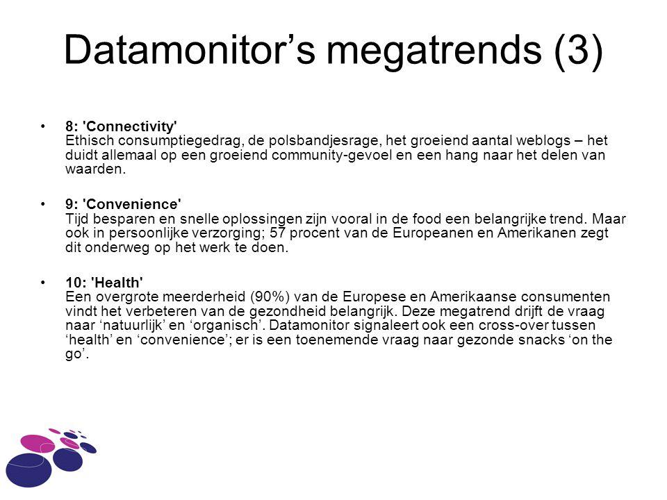 Datamonitor's megatrends (3) 8: Connectivity Ethisch consumptiegedrag, de polsbandjesrage, het groeiend aantal weblogs – het duidt allemaal op een groeiend community-gevoel en een hang naar het delen van waarden.
