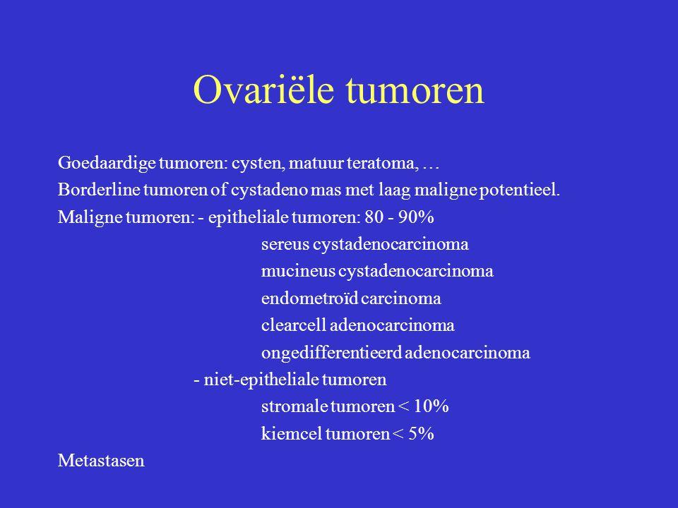 Ovariële tumoren Goedaardige tumoren: cysten, matuur teratoma, … Borderline tumoren of cystadeno mas met laag maligne potentieel. Maligne tumoren: - e