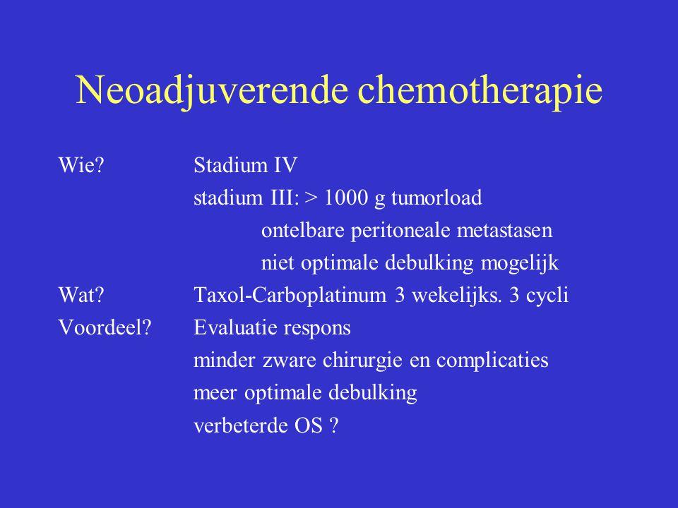 Neoadjuverende chemotherapie Wie?Stadium IV stadium III: > 1000 g tumorload ontelbare peritoneale metastasen niet optimale debulking mogelijk Wat?Taxo
