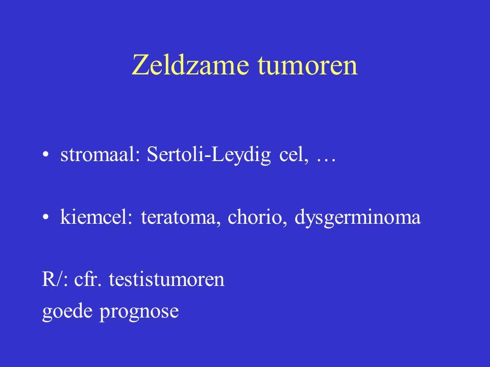 Zeldzame tumoren stromaal: Sertoli-Leydig cel, … kiemcel: teratoma, chorio, dysgerminoma R/: cfr. testistumoren goede prognose