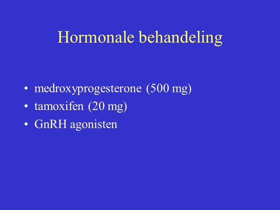Hormonale behandeling medroxyprogesterone (500 mg) tamoxifen (20 mg) GnRH agonisten