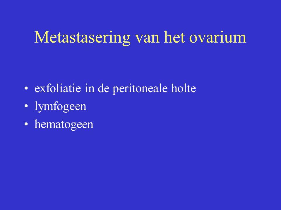 Metastasering van het ovarium exfoliatie in de peritoneale holte lymfogeen hematogeen