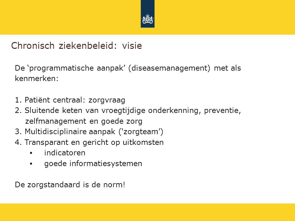Chronisch ziekenbeleid: visie De 'programmatische aanpak' (diseasemanagement) met als kenmerken: 1. Patiënt centraal: zorgvraag 2. Sluitende keten van