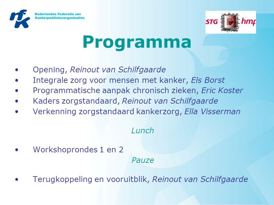 Programma Opening, Reinout van Schilfgaarde Integrale zorg voor mensen met kanker, Els Borst Programmatische aanpak chronisch zieken, Eric Koster Kade