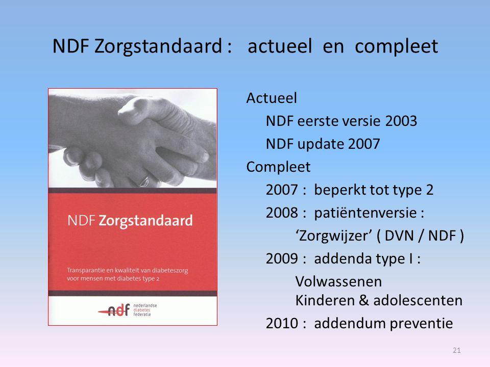 NDF Zorgstandaard : actueel en compleet Actueel NDF eerste versie 2003 NDF update 2007 Compleet 2007 : beperkt tot type 2 2008 : patiëntenversie : 'Zorgwijzer' ( DVN / NDF ) 2009 : addenda type I : Volwassenen Kinderen & adolescenten 2010 : addendum preventie 21