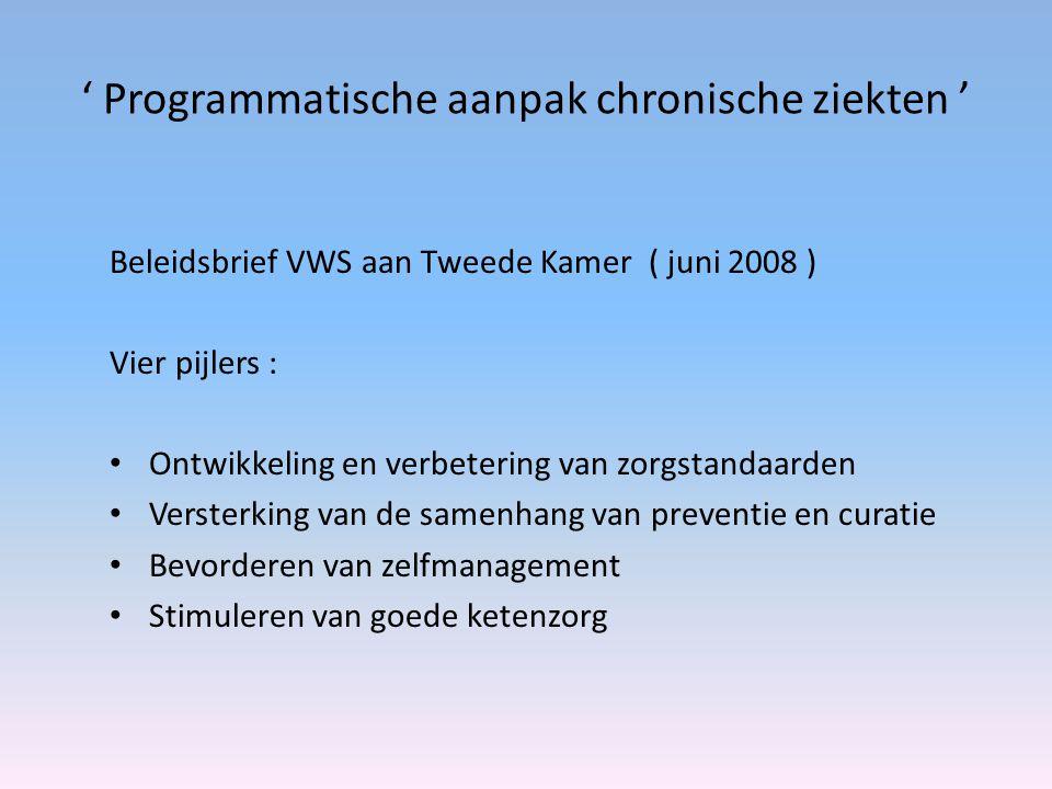 ' Programmatische aanpak chronische ziekten ' Beleidsbrief VWS aan Tweede Kamer ( juni 2008 ) Vier pijlers : Ontwikkeling en verbetering van zorgstandaarden Versterking van de samenhang van preventie en curatie Bevorderen van zelfmanagement Stimuleren van goede ketenzorg