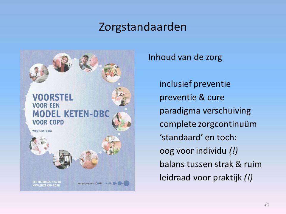 Zorgstandaarden Inhoud van de zorg inclusief preventie preventie & cure paradigma verschuiving complete zorgcontinuüm 'standaard' en toch: oog voor individu (!) balans tussen strak & ruim leidraad voor praktijk (!) 24